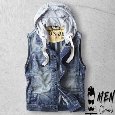 Go Denim With Sleeveless Hoodie For Male